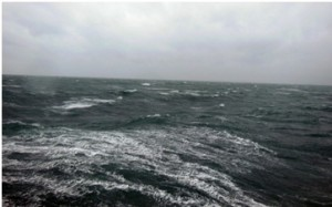 """11.00am 12/01/14 – Weather update Wind speed: 28.0m/s and gusting at 38 m/s, Wind direction: 160°, Swell height: 2.7m, Gale force 8, Weather should improve after 20.00. Cannot deploy GOST until then."""