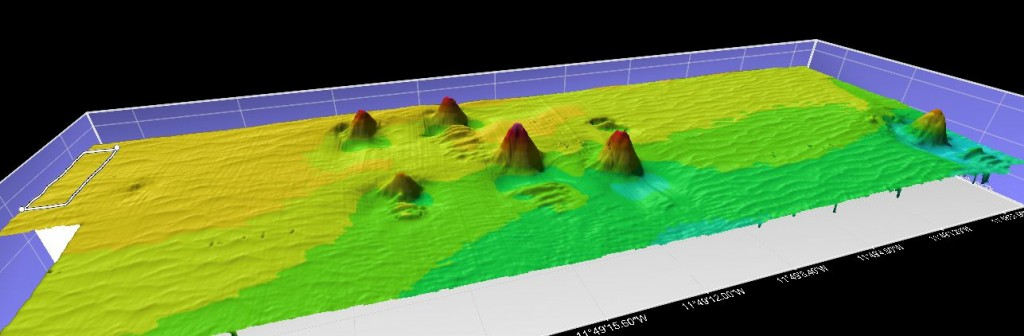 Processed ROV multibeam data showing coral carbonate mounds (reefs) surrounded by scours and sediment waves. The mounds are 8m tall.