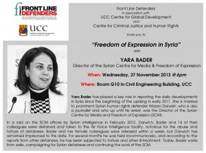Freedom of Expression in Syria CCJHR November 2013