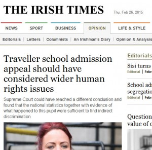 screenshot Irish Times headline