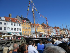 Nyhavn - picturesque area of the city, view from a canal boat