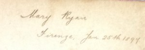 Mary Ryan's signature on her copy of Dante's Inferno
