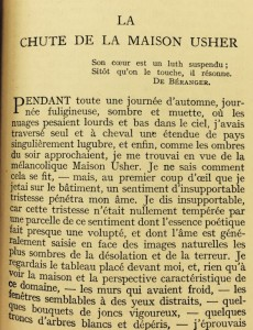 """Page One of Baudelaire's translation of """"The Fall of the House of Usher"""""""