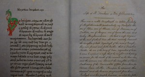 """Opening Page for """"Beatha Finnchua"""" Ms. 90"""