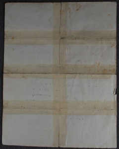 Reverse of letter showing sticky tape along folds