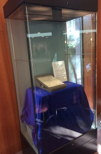 MacNeill letter on display in foyer of Boole Library, UCC