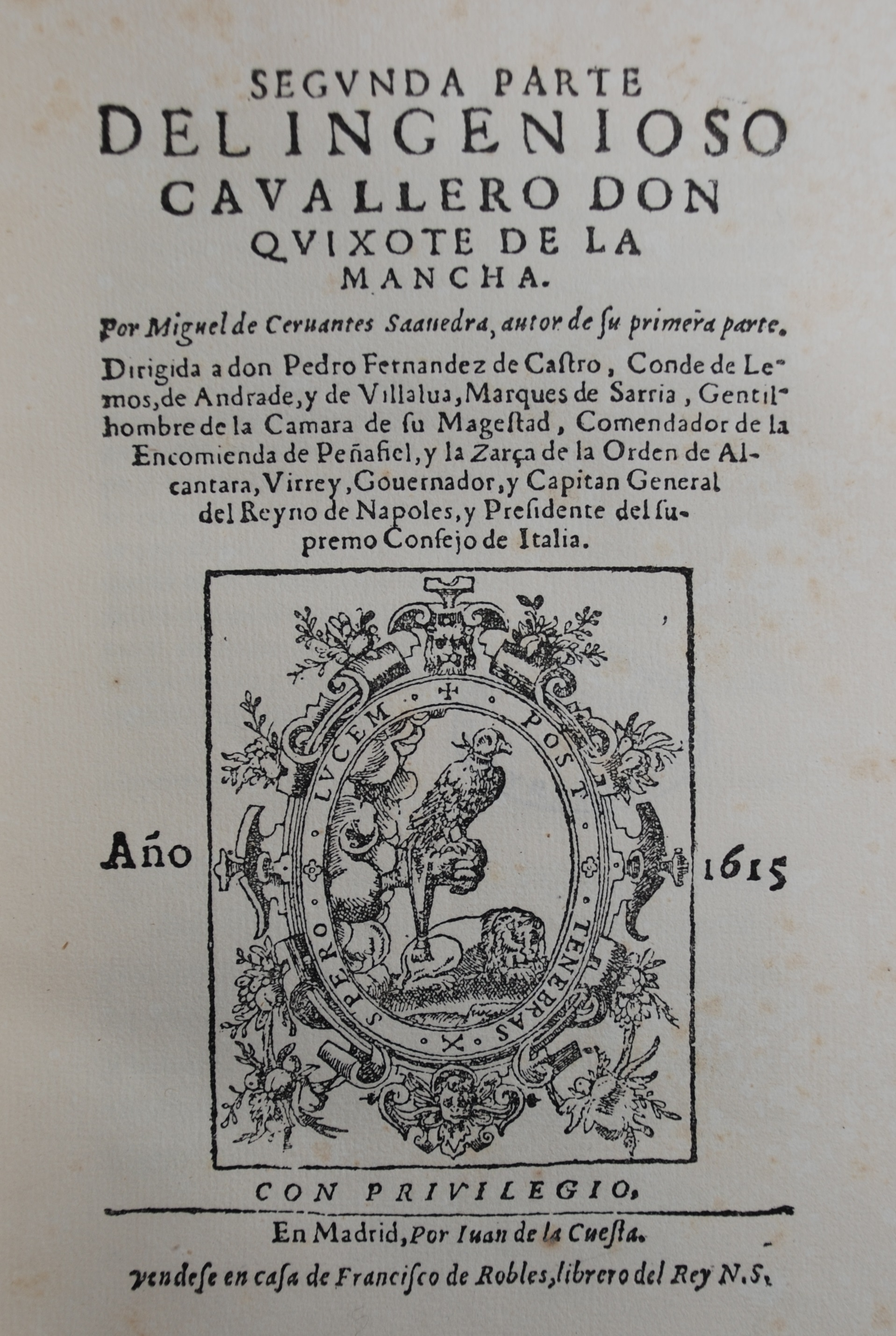 Title page of facsimile edition of Don Quixote
