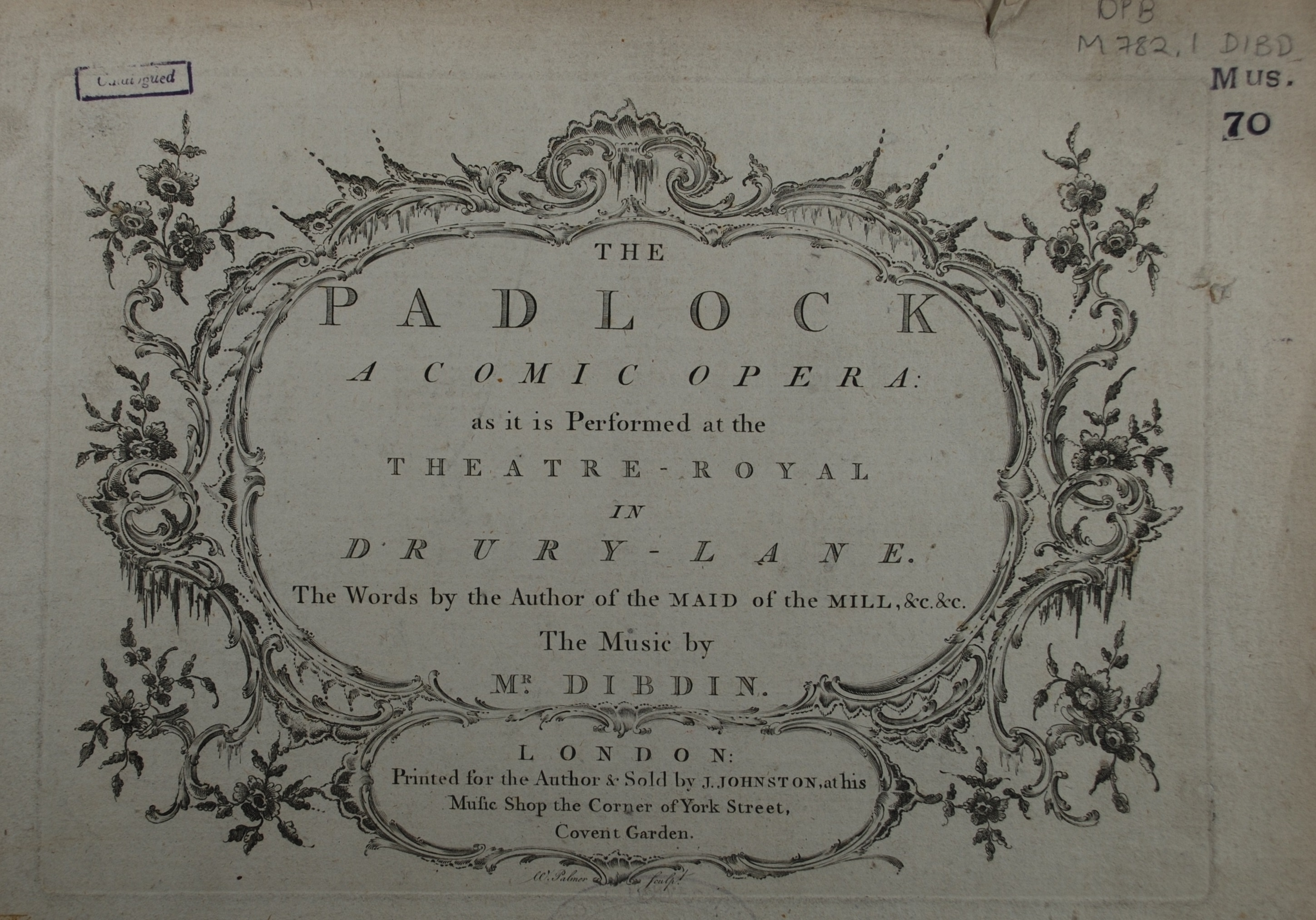 Title page of The Padlock.