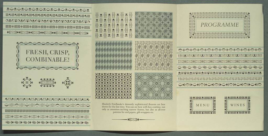 Examples of borders from the Elizabeth Friedlander archival collection which contains the working papers of a graphic designer famed for her intricate boarder designs, and her custom designed font 'Elizabeth'.