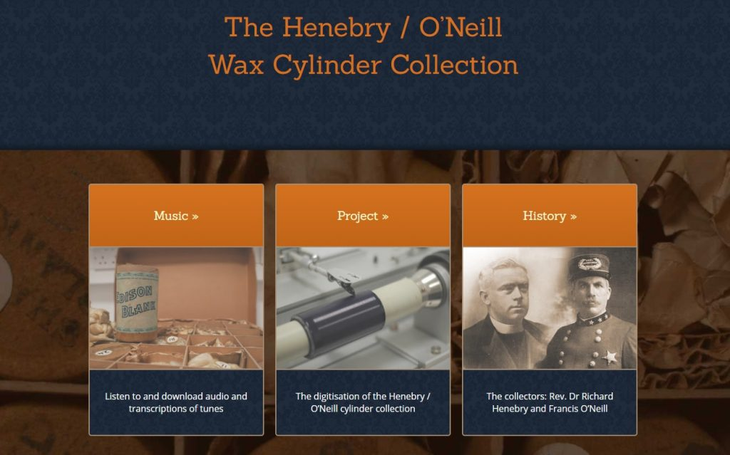 Website of Digitised Henebry O'Neill Wax Cylinder Collection