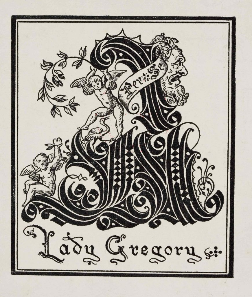 Lady Gregory's bookplate in Popular Tales of the West Highlands.