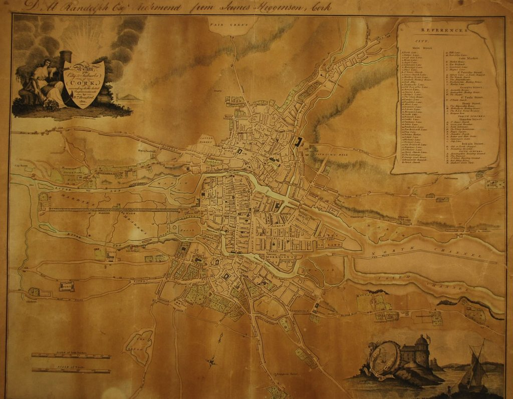 Map of Cork from 1801 by William Beauford.