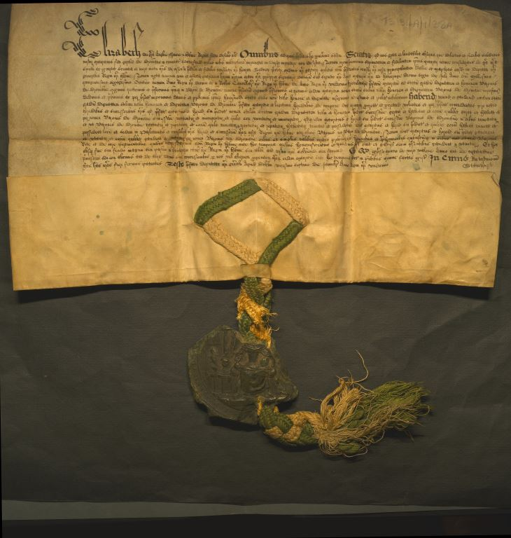 Vellum document with attached seal of a royal letters patent creating Sir Maurice FitzGerald Baron of Drommana and Viscount of Decies.
