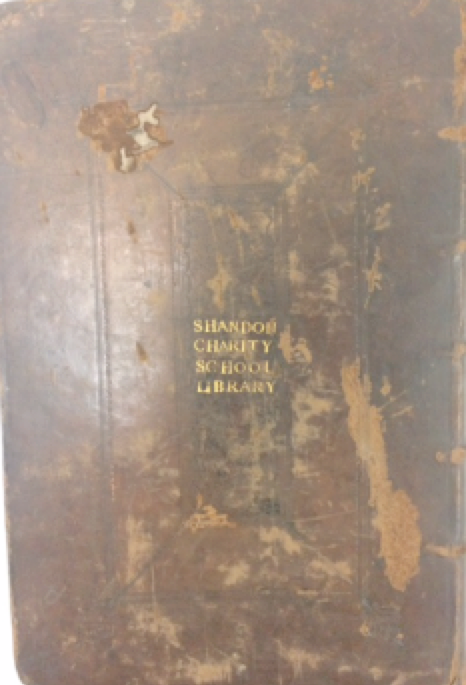 Evidence of provenance: Gold tooling of letters stamped horizontally on back board. Name: Shandon Charity School Library.