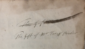 Sheriff Croker's signature on end-papers of 'A Relation of the Conference betweene William Lawd.'