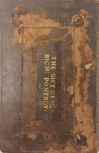Gold tooling of letters stamped on back board The Book of Common Prayer. Name: Rich Pomeroy.