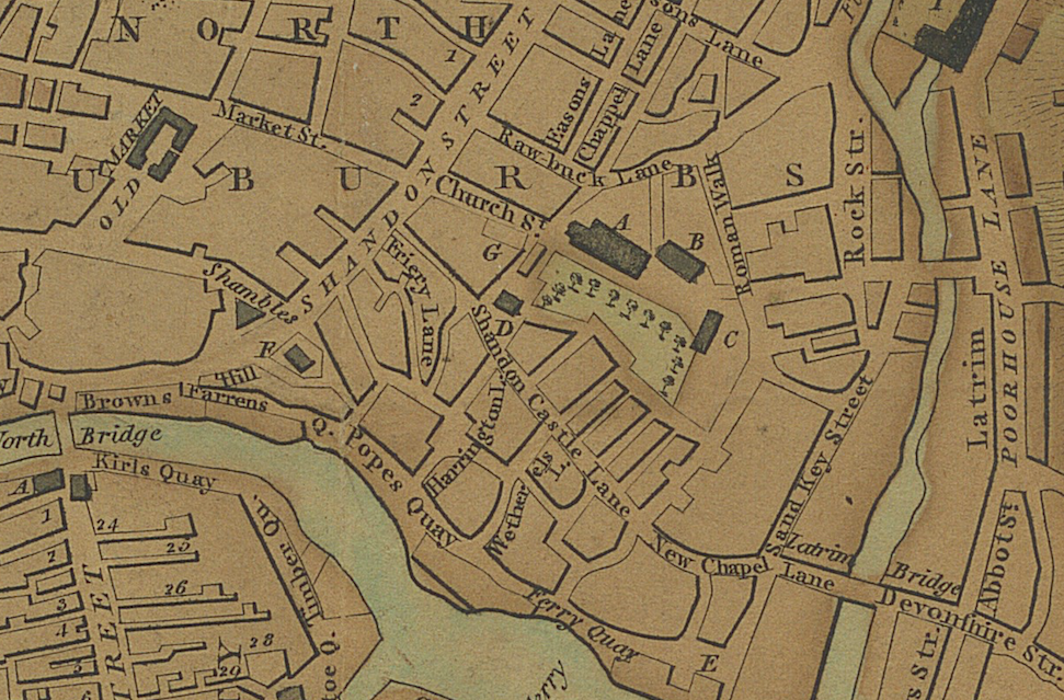 The image is an excerpt from William Beauford's 1801 map of Cork City. The Green Coat Hospital & School is present on the map  as building 'B'. The Green Coat Hospital is adjacent to Shandon Church.
