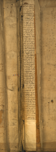 Manuscript fragments in the spine binding of 'The Lives of the Noble Grecians and Romanes.'