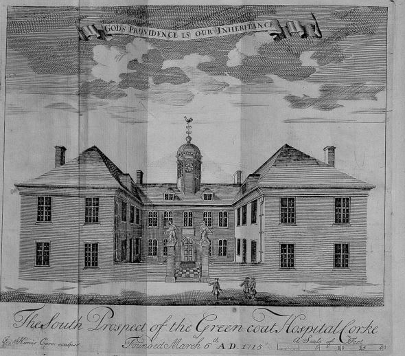"""Architectural print of the """"South Prospect of the Green Coat Hospital, Cork."""" taken from 'Pietas Corcagiensis'. The building is large with two wings and a turret in the centre of the roof. On the turret is a weather vane. Over the print of the building is the motto 'God's providence is our inheritance'."""