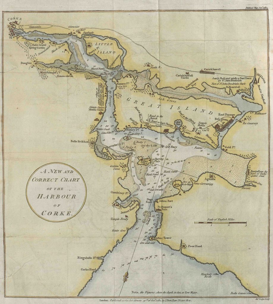 Nautical chart of Cork City and Cork Harbour, 1782.