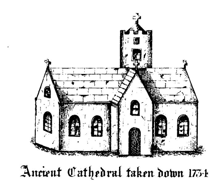 Image of an early cathedral on the site of the modern St Fin Barre's Cathedral in Cork.