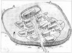 Conjectural drawing of the early Viking settlement around Christ's Church.