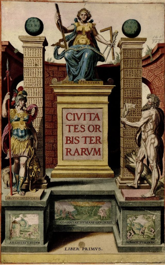 The title page to the Civitates orbis terrarum showing the Great Mother deity, holding instruments vital for the design and construction of buildings.