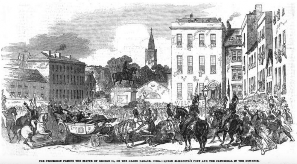 Images of Queen Victoria's visit to Cork in 1848 showing her procession on the corner of Grand Parade and South Mall.