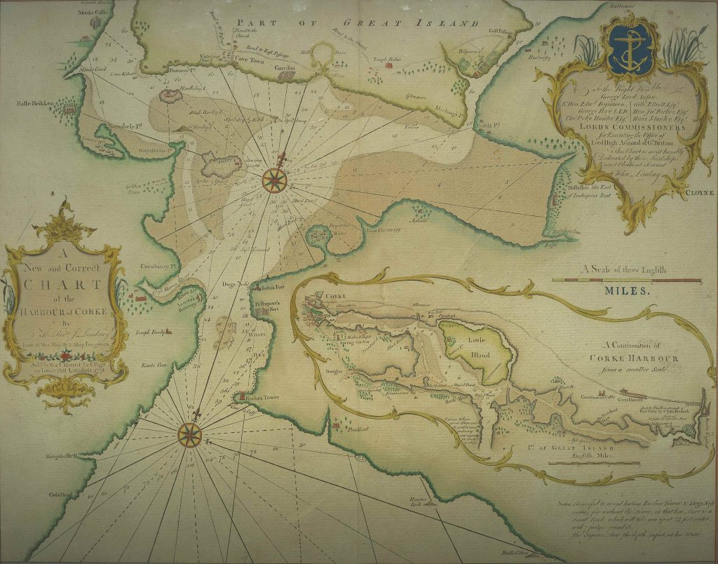 John Lindsay's New and Correct Charte of the Harbour of Corke from 1759