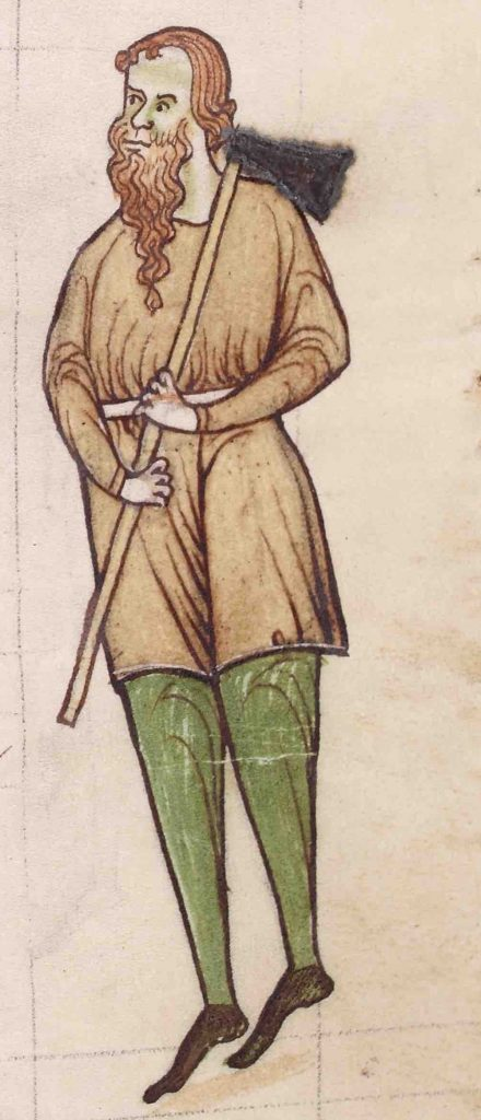Detail from NLI MS 700 showing a man holding a hoe over his shoulder.