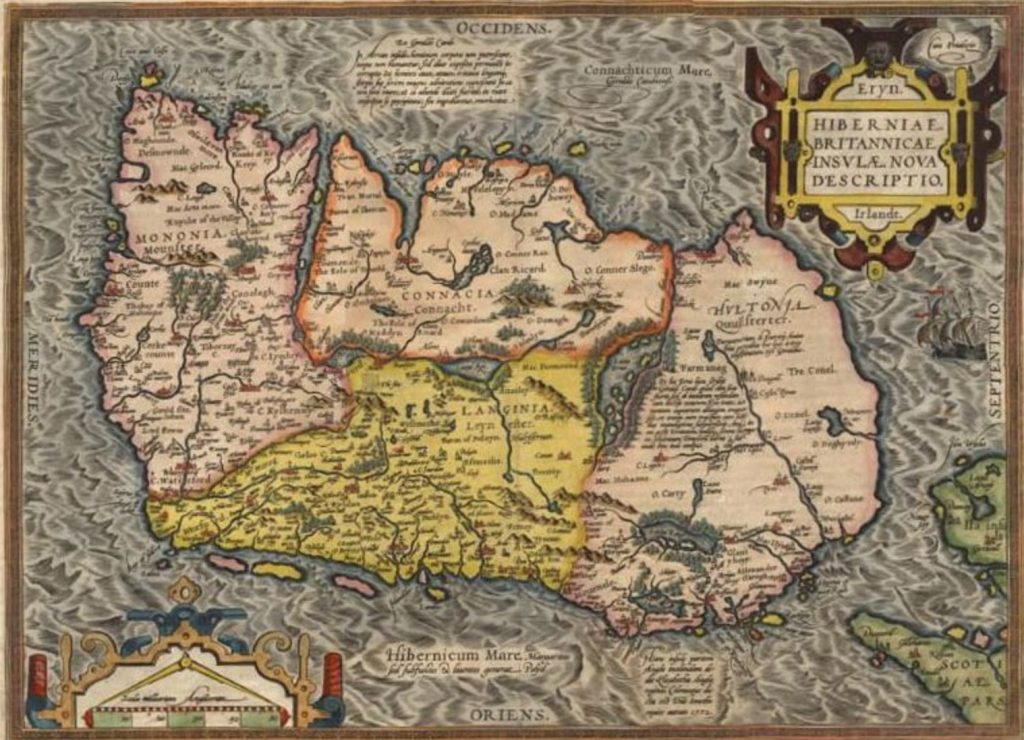 Map of Ireland from Ortelius' Theatrum Orbis Terrarum. The image is turned around so that the south of the country is placed where the west is normally.