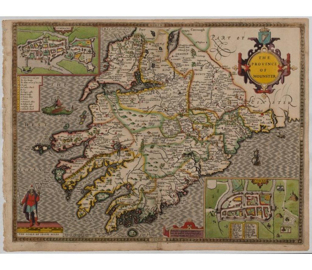 Map of Munster by John Speed. Two maps of Limerick and Cork are in the top left and bottom right corners respectively.