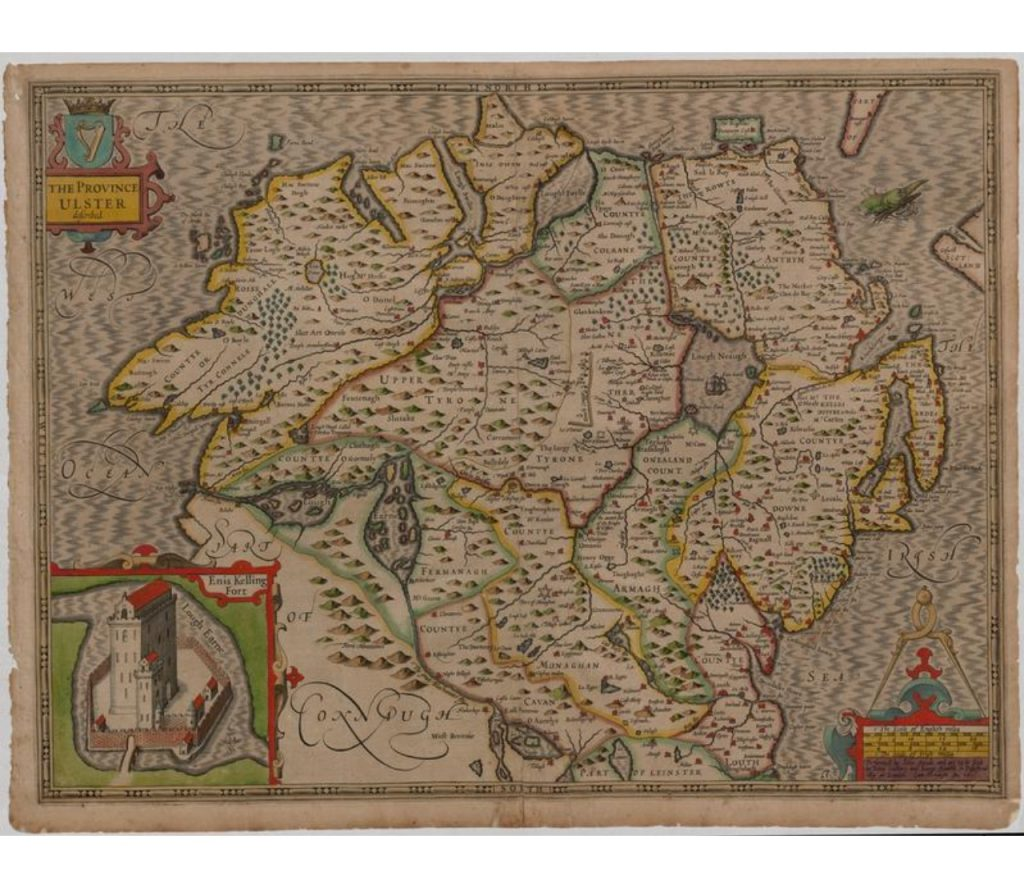 Map of Ulster by John Speed. A map of Enniskillen is in the bottom left corner.