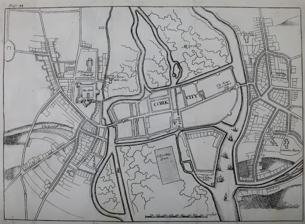 Map of Cork from 1690 showing the city beginning to develop to the north, south and east.