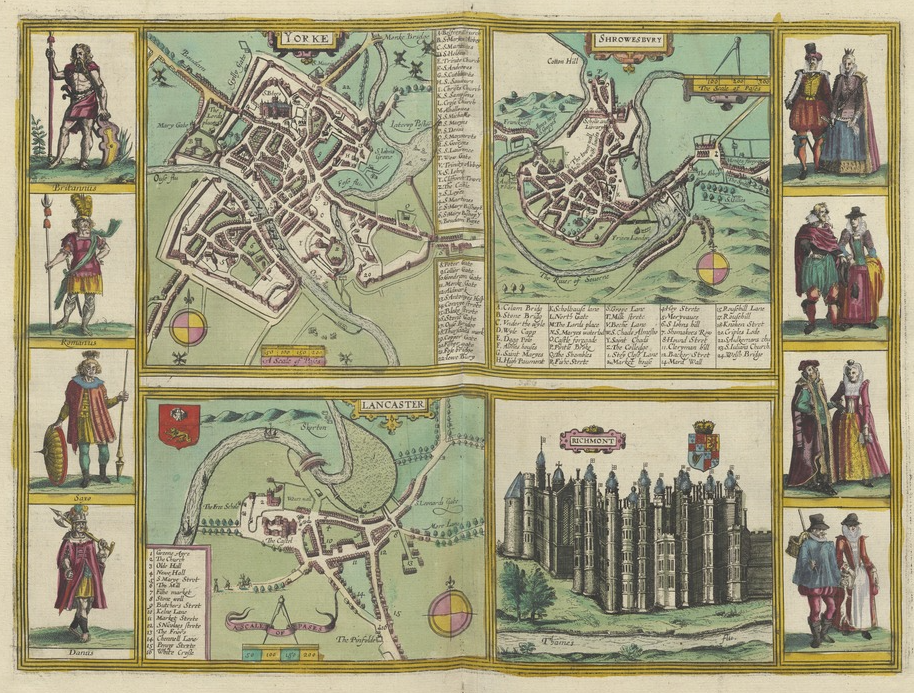 Folio opening of Civitates orbis terrarum from Utrecht University Library showing four early modern maps of York, Lancaster, Shrewsbury and Richmont. The sides of each page shows figures in historical dress.