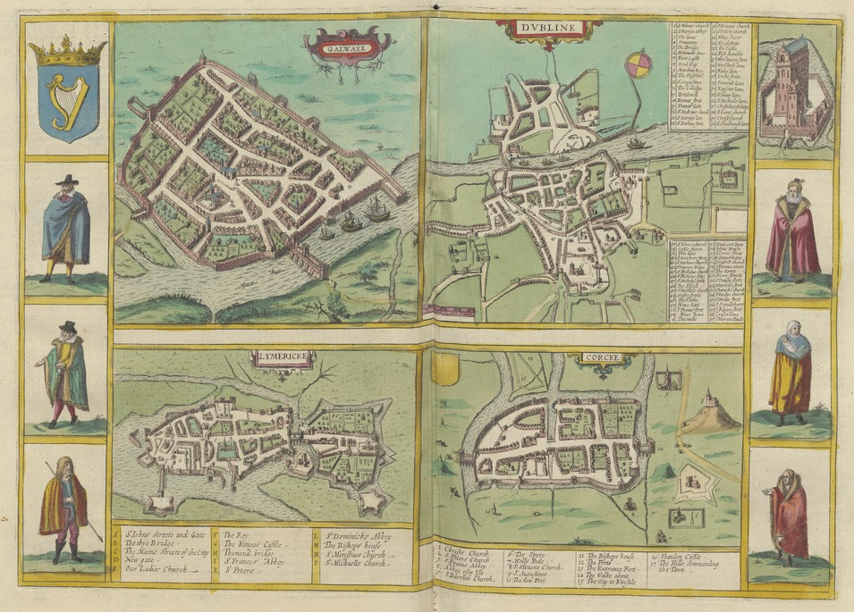 Folio opening of Civitates orbis terrarum from Utrecht University Library showing four early modern maps of Galway, Dublin, Limerick & Cork. The sides of each page shows figures in historical dress.