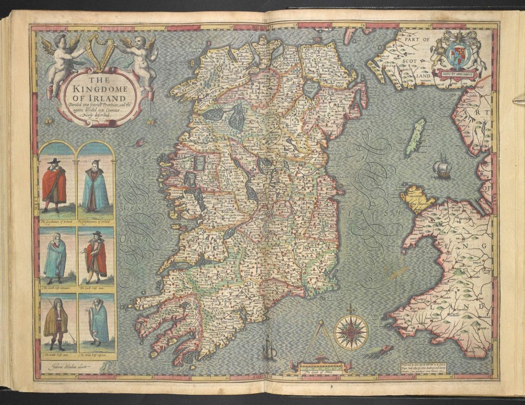 Map of Ireland by John Speed. Six figures are to the left of the western seaboard.
