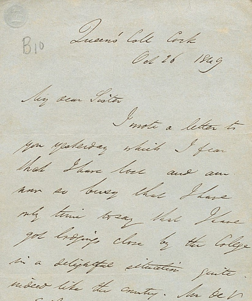 Part of a letter written by George Boole in Oct 1849 from Queen's College Cork to his sister, Mary Ann.