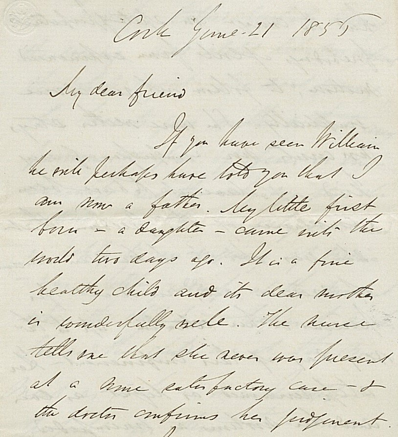 First page of a handwritten letter from George Boole to a friend, dated June 1856, announcing that he has become a father for the first time.