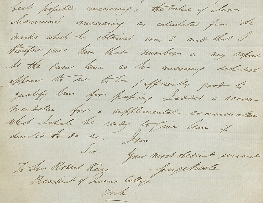 Letter by George Boole in 1858