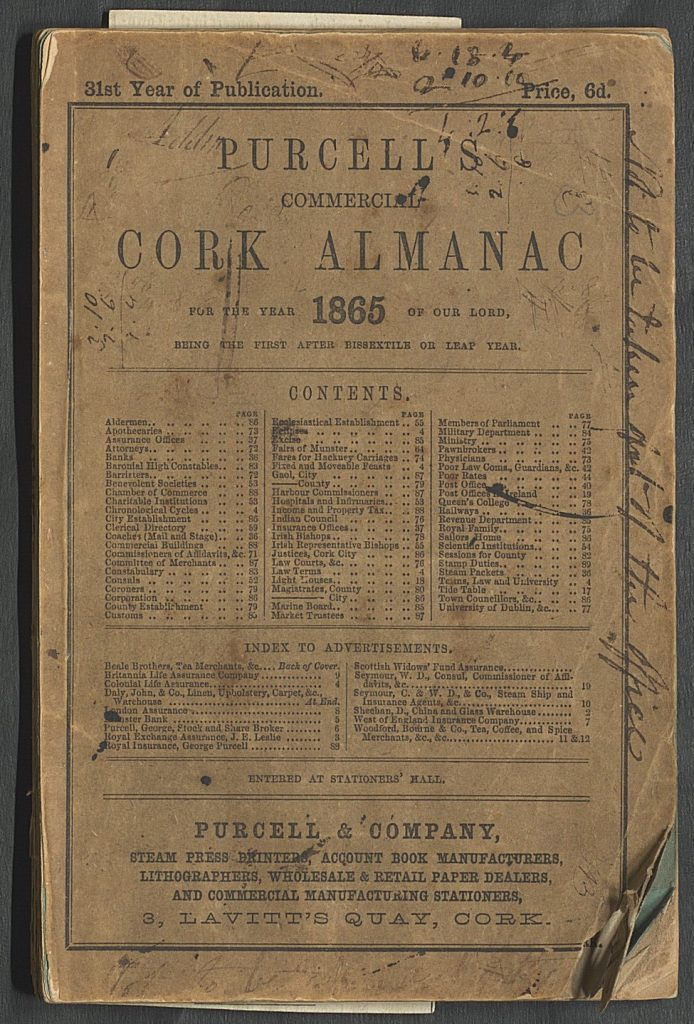Cover of the publication Purcell's Commercial Cork Almanac for 1865.