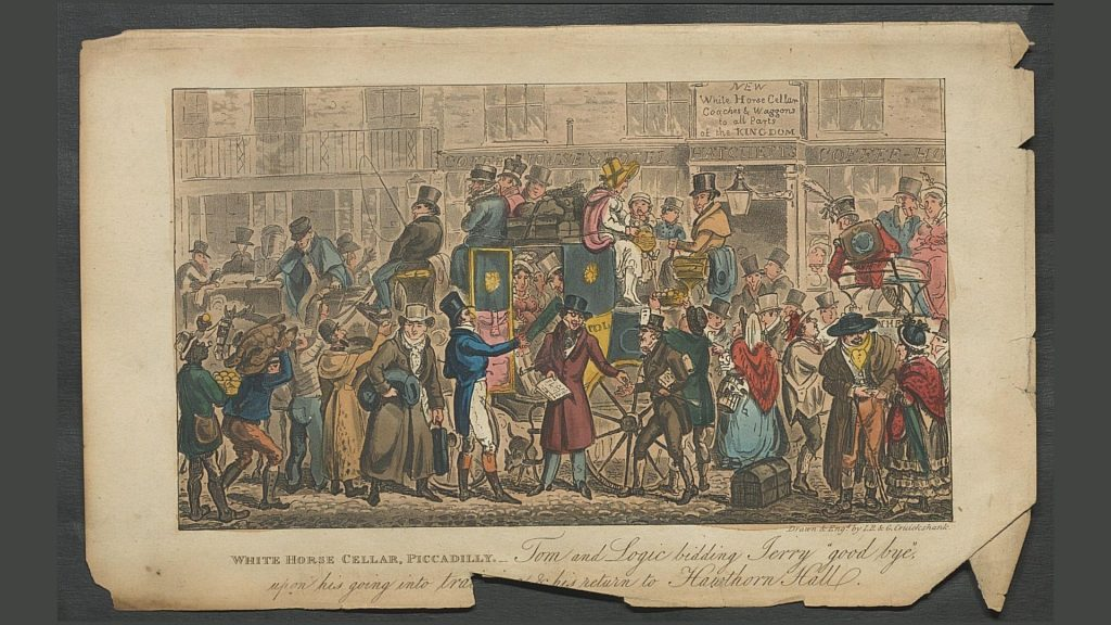 Tom & Jerry print from 'Life in London': Tom & Logic are at Picadilly bidding farewell to Jerry who is leaving in a carriage.