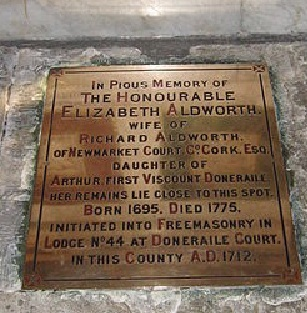 The memorial tablet to Mrs Aldworth erected by the Aldworth Familiy lies beside the pulpit in St. Fin Barre's Cathedral Cork.