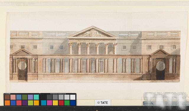 Lecture diagram of Carlton House on Pall Mall in London by JM Turner.
