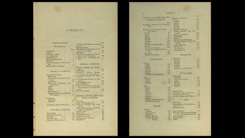 Table of contents from A classified catalogue of the books contained in the library of the Queen's College, Cork (1860). Sections include: Pure Sciences; Physical Sciences; Natural Sciences; Medical Sciences; Mental, Moral and Political Sciences; Philology, Criticism and Literary History; Literature; History; Biography; Antiquities; Arts.