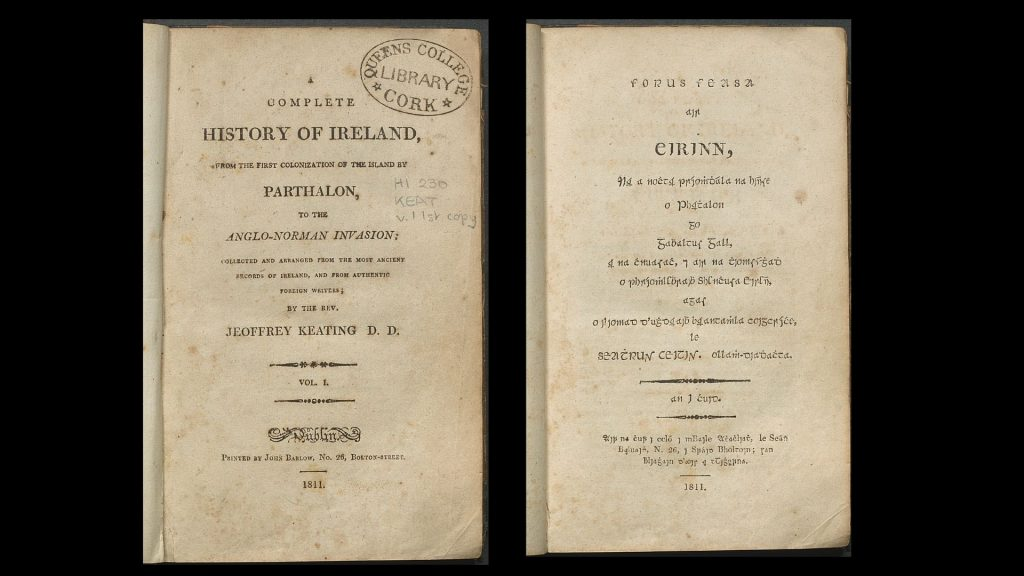 Title page in English with Queen's College Cork Library stamp on it. Title page in Irish in Gaelic type.