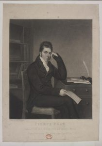 Print of Pierce Egan, from a drawing by George Sharples, 1823.