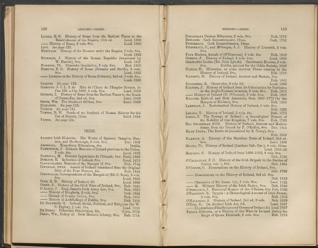 Entries for Irish History from Queen's College Cork 1860 printed catalogue.