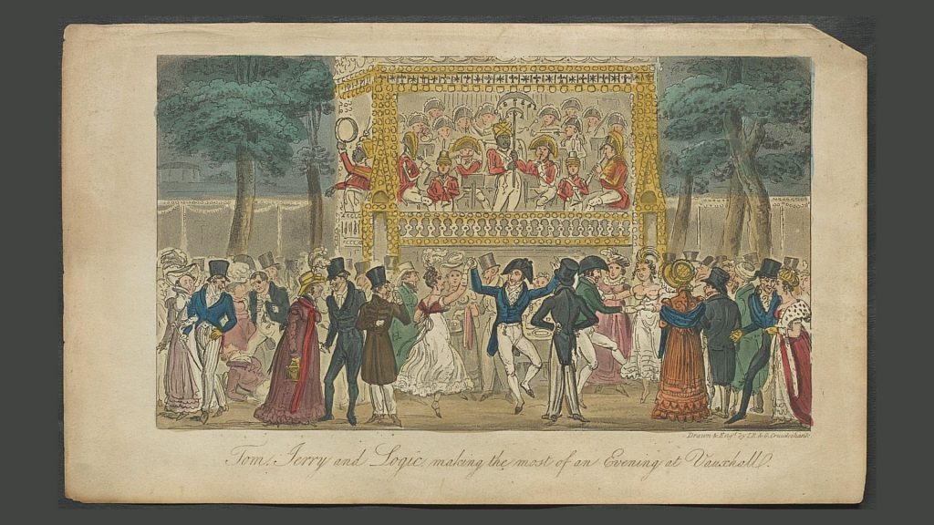 Tom & Jerry print from 'Life in London': The crowd enjoys the Vauxhall Pleasure Gardens and amusement park.