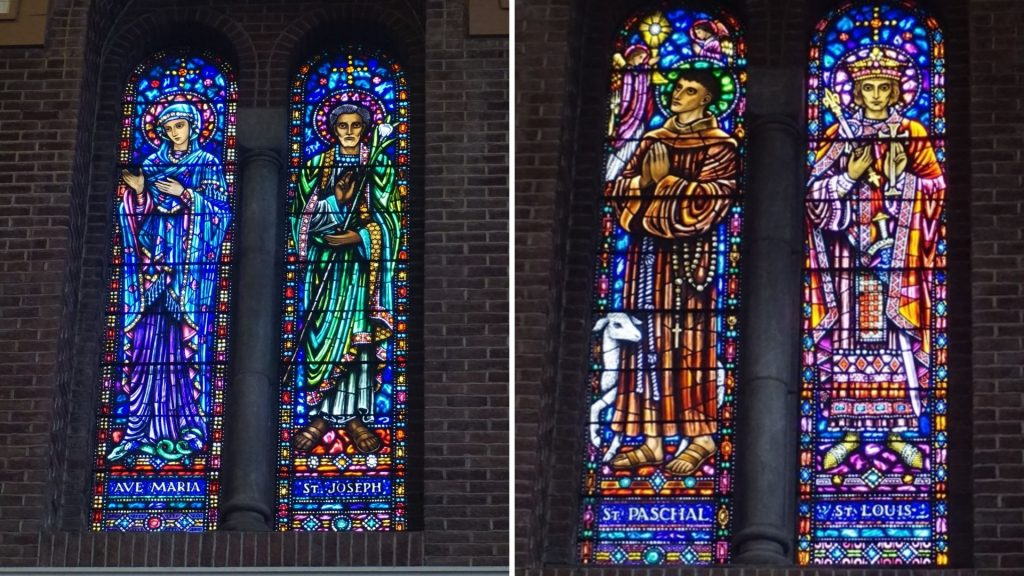 Two photographs of four of the saints in the stained glass windows in St Francis Church.